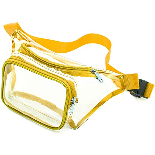 Clear Fanny Pack, iSPECLE Clear Fanny Packs Stadium Approved for Football Event, Concert, Travel, Adjustable 19 to 47 inch Waist Strap for Women Men Yellow