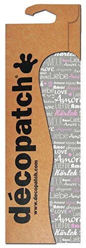 Decopatch Papier No. 686 (grau pink Schrift Love, 395 x 298 mm) 3er Pack