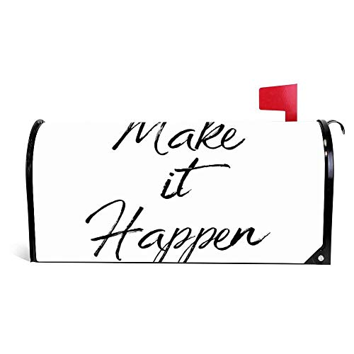 Yilooom Make It Happen Motivational Quote Mailbox Cover Magnetic Mail Box Wrap Yard Garden Decor 17.25 X 20.75 Inches