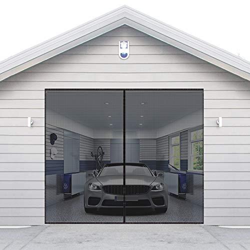 AURELIO TECH Magnetischer Garagentor-Sichtschutz für 1 Auto, 2,7 x 2,1 m, Einzelgitter-Vorhang-Set mit Haken und Schlaufe, hält Insekten fern