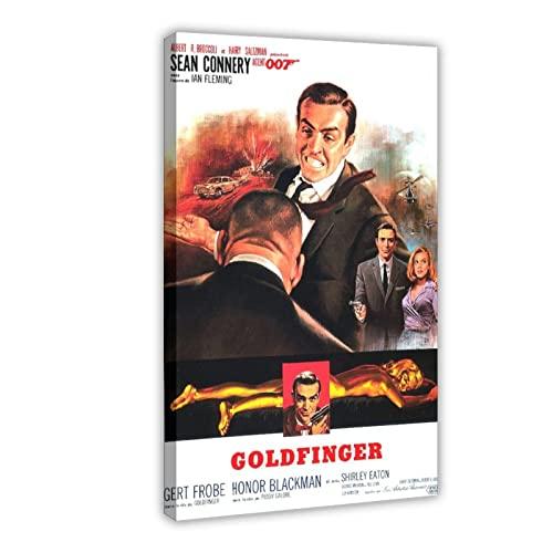 James Bond 007 Goldfinger Poster su tela da parete, decorazione per soggiorno, camera da letto, cornice: 40 x 60 cm