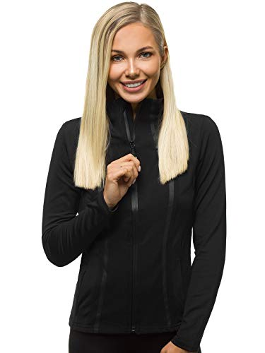 OZONEE Damen Sweatjacke ohne Kapuze Sportjacke Trainingsjacke Leichte Jacke Sweatshirt Farbvarianten Langarm Sport Style Casual Fitness Training Basic Outdoor JS/HH020/1 SCHWARZ S