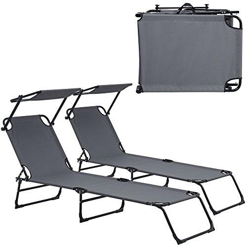 [casa.pro] Lettino a sdraio [set di 2] pieghevole 190cm grigio scuro con parasole lettino relax alluminio