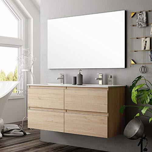 Aquore | Mueble de Baño con Lavabo y Espejo | Mueble Baño Modelo Sundee 2 Cajones Suspendido | Muebles de Baño | Diferentes Acabados Color | Varias Medidas (Bamboo, 100 cm)