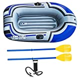 Inflatable Boat PVC 1-Person Portable Foldable Hard Bottom Fishing Drift Raft Kayak with Inflator Peddles Outdoor Water Equipment