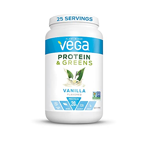 Vega Protein and Greens, Vanilla, Vegan Protein Powder, 20g Plant Based Protein, Low Carb, Keto, Dairy Free, Gluten Free, Non GMO, Pea Protein for Women and Men, 1.7 Pounds (25 Servings)