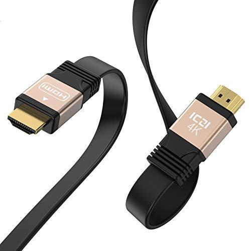 ICZI Cable HDMI 4K 60HZ Plano 2m con Carcasas de Aluminio y Contactos chapados en Oro, Cable Bien Plano Que Puedes meterlo Abajo de tu Alfombra o Pata de Mesa etc