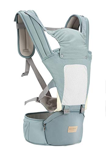 Insular Baby Carrier with Hip Seat, 3-in-1 Convertible Carrier, 360 Ergonomic Baby Carrier Backpack, Cotton Material for Four Seasons, Travelling Baby Wrap Carrier (Clear)