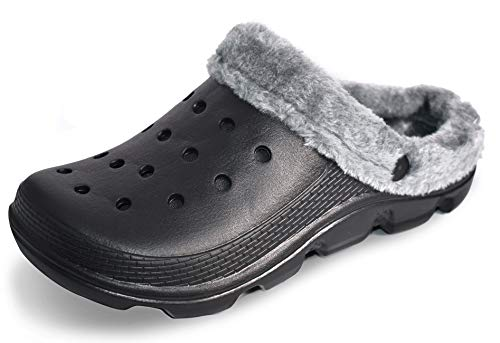 Oxgmoky Garden Clogs Shoes Sandals House Slippers Home Room Shoes Indoor Outdoor Shower Shoe Sport Women's Men's Classic Lined Clog   Warm and Fuzzy Slippers (Women 7/Men 5) Black in Winter