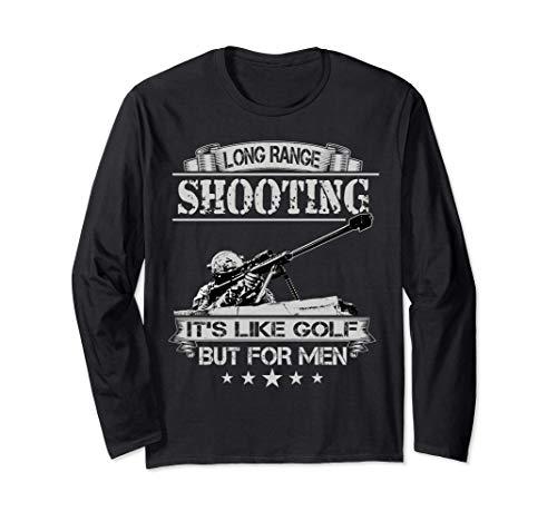 長距離射撃はゴルフみたいだけど男性向けスナイパー 長袖Tシャツ