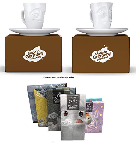 Fiftyeight Espressotassen Espresso Mug 2er Set + SERVIETTEN, 80 ml, VERSCHMITZT+LECKER E Mugs 2