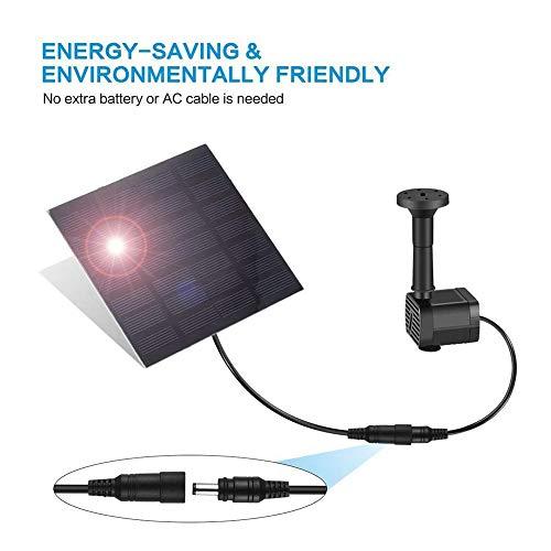 JunziWing Fuente Solar 200l / h 7v 1.4w Ingeniería Sun Power Birdbath...
