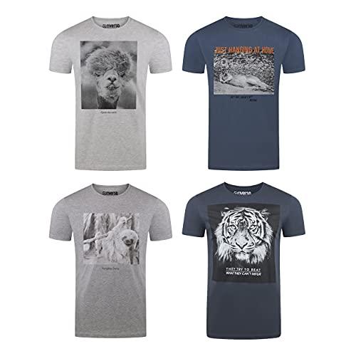 riverso Herren T-Shirt RIVFritz 4er Pack Fotodruck Rundhals Kurzarm Shirt Regular Baumwolle Tierdruck Blau Weiß Grau Grün 4XL, Größe:4XL, Farbe:Farbmix 4