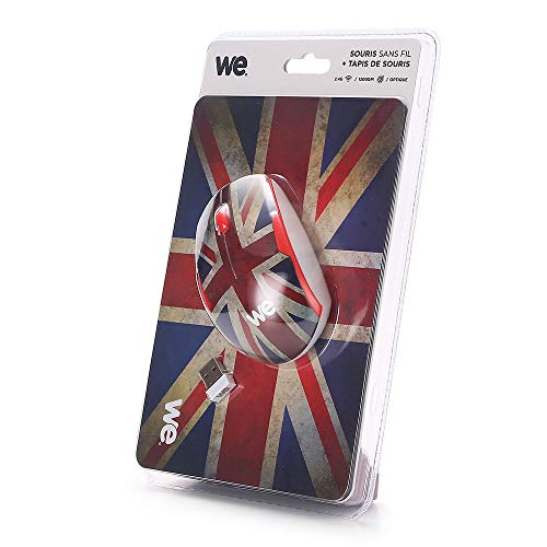 WE Bundle Souris 2.4G/Tapis Souris UK Nano Dongle USB - Thème Anglais - 2.4 GHz 1200DPI - Tapis de Souris 200x140x3mm - Thème Royaume-Uni