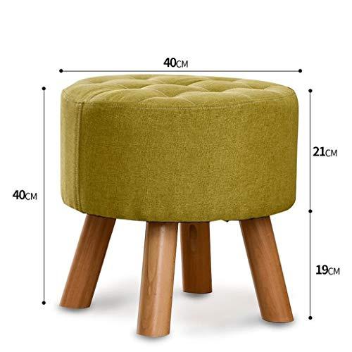 LDM Rollsnownow Taburete Redondo Verde Sofá de Madera Maciza Taburete Taburete pequeño Sala de Estar Taburete Mesa de Comedor Cambiar el Taburete de Zapatos