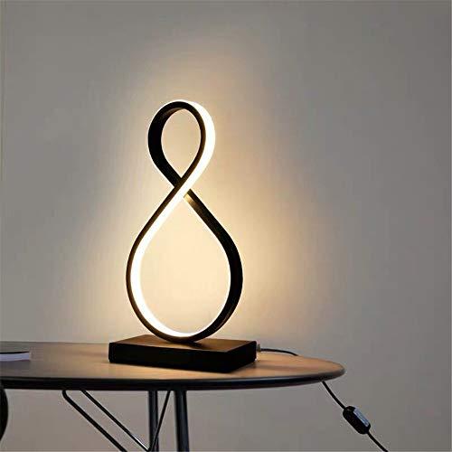 Moderna lámpara de mesa LED para dormitorio, mesa de lectura, lámpara de noche, estudio, protección ocular, enchufe US/UE, Dimable B, color negro cálido