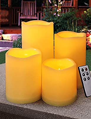 """HOME MOST Set of 4 Waterproof Outdoor LED Pillar Candles with Remote (3""""/4""""/5""""/6"""" Tall) - Flameless Candles Flickering Candles Bulk - Outdoor Candles with Timer Waterproof Candles Battery Operated"""