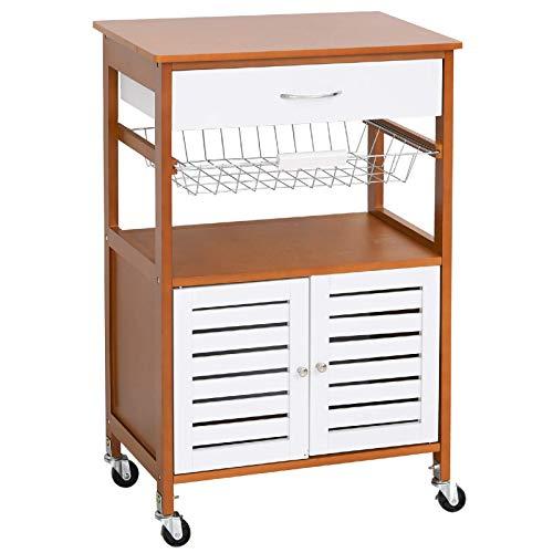 Carro de cocina con ruedas de madera de pino para almacenamiento de cocina, color blanco/marrón