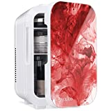 AUXKO Mini Fridge 6 Liter/8 Can Portable Personal Small Makeup Refrigerator, Compact Cooler and Warmer for Cosmetic, Breast Milk, Facial mask, Bedroom, Dorm, Office, Car (Penetration red)