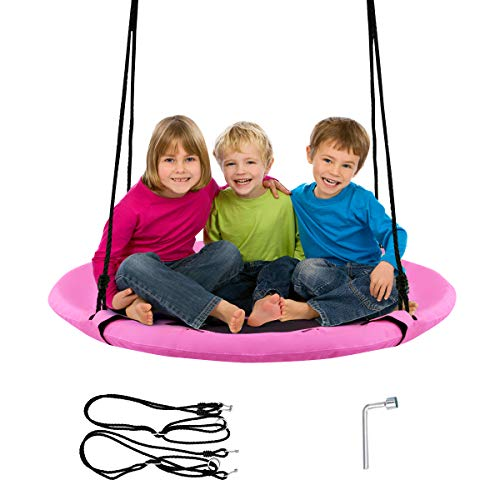 Costzon 40'' Flying Saucer Tree Swing, Safe and Sturdy Swing for Children W/ Easy Assembly, Adjustable Ropes, Ideal for Park Backyard, Playground, and Playroom (Pink)