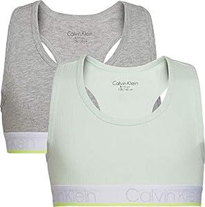 Calvin Klein 2pk Bralette Sujetador, Verde (1MistyJade/1GreyHeather 0ID), 8-9 años (Talla del Fabricante: 8-10) para Niñas