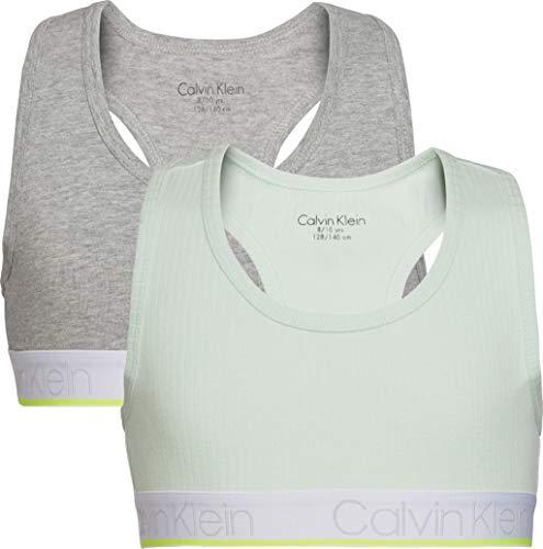 Calvin Klein 2Pk Bralette Rib Reggiseno, Verde (1Mistyjade/1Greyheather 0Id), 8-9 Anni (Taglia Produttore: 8-10) (Pacco da 2) Bambina