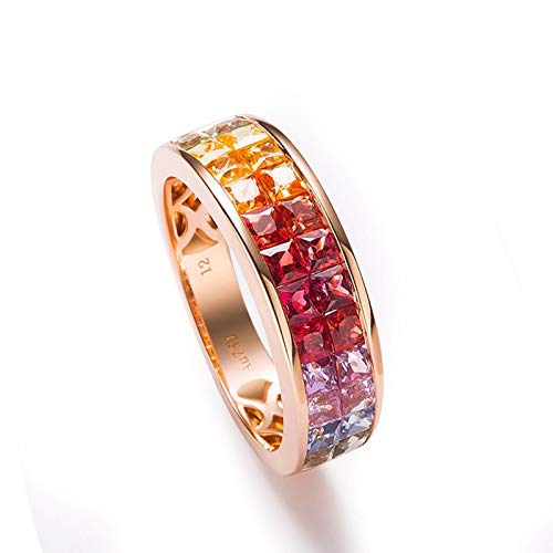 AueDsa Anello di Fidanzamento da Donna Oro Rosa Anello Donna Oro Rosa 18K Tondo Zaffiro Rosso Blu 0.562ct Taglia 18,5