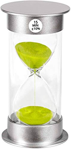 Sand Timer 15 Minute Hourglass Timer, Silver Plastic Sand Clock 15...