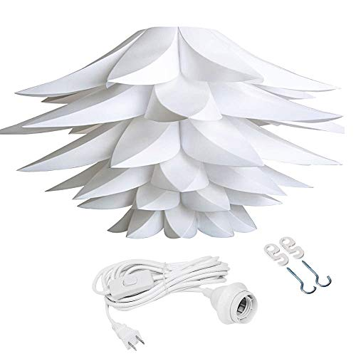 Pendant Light Fixture,DIY IQ Hanging Lampshade, Lotus Flower Puzzle Lamp Shade Kit Fixture Ceiling Jigsaw Puzzle Chandelier with 15 Feet Hanging Cord Fixture for Living Room Cafe Hotel(1 Pack, White)