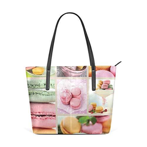 NR Multicolour Fashion Damen Handtaschen Schulterbeutel Umhängetaschen Damentaschen,Bunter französischer Makronen-Kaffee-Druck