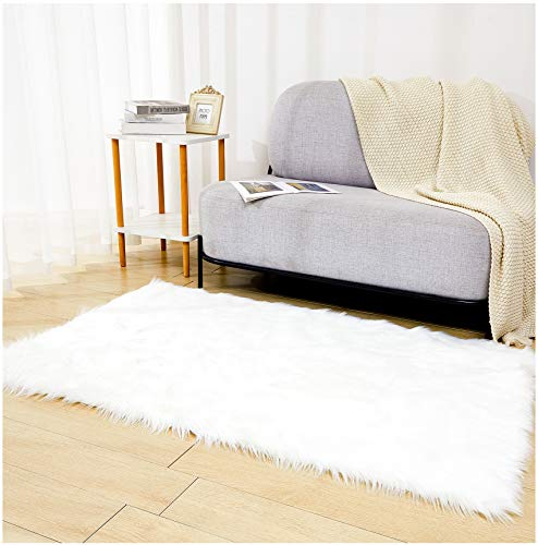 Faux Sheepskin Fur Fuzzy Rug with Rug Grippers for Area Rug, 3x5 Ft White Furry Rugs, Alfombras para Habitacion, Bedside Fluffy Rug Fur Rugs for Bedroom, Living Room, Dorm Room, Photography