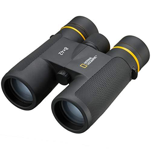 National Geographic Fernglas 8x42 Dachkant mit Mehrschichtvergütung, Stativanschlussgewinde und Twist-Up Augenmuscheln inklusive Trageriemen und Transporttasche, schwarz, 9076300