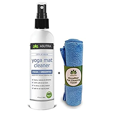 ASUTRA 100% Natural & Organic Yoga Mat Cleaner, SAFE FOR ALL MATS, No Sticky Or Slimy Residue - Cleans, Restores, Refreshes + FREE Microfiber Cleaning Towel