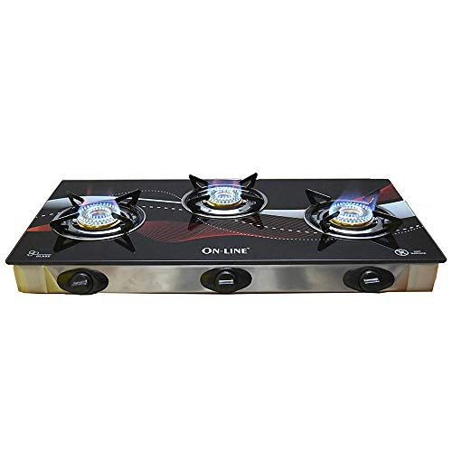 Online 3B Piezo Auto Ignition Heavy Brass Coated Iron Burner, 3 Burner Gas Stove with Blue Flame, Toughened Glass Cook Top, Stainless Steel Frame