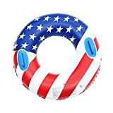 Fila Flotante Inflable Anillos de natación de la bandera americana de 35.4 pulgadas para adultos adolescentes, piscina inflable flotador anillo de natación portátil Tubo flotante con manijas verano al