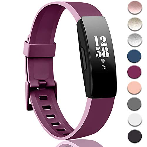 Tobfit Soft TPU Bands Compatible with Fitbit Inspire HR/Fitbit Inspire/Fitbit Ace 2 Bands, Sports Accessories Waterproof Wristbands Women Men, Small, Sangria