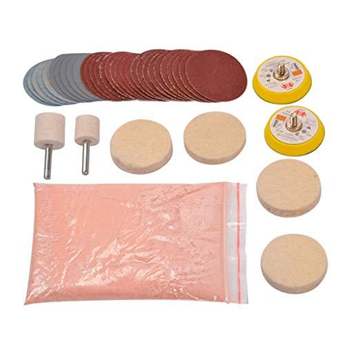lijun 34pcs/Set Deep Scratch Remove Glass Polishing Kit 8 OZ Cerium Oxide Sanding Disc