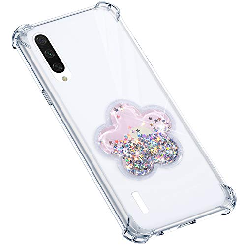 Uposao Compatible avec Coque Xiaomi CC9E Coque en Silicone Transparent Cute Motif Glitter Luxe Bling Paillette Etoiles Liquide Cristal Clair Ultra Fine Souple Gel TPU Bumper,Rose Fleur