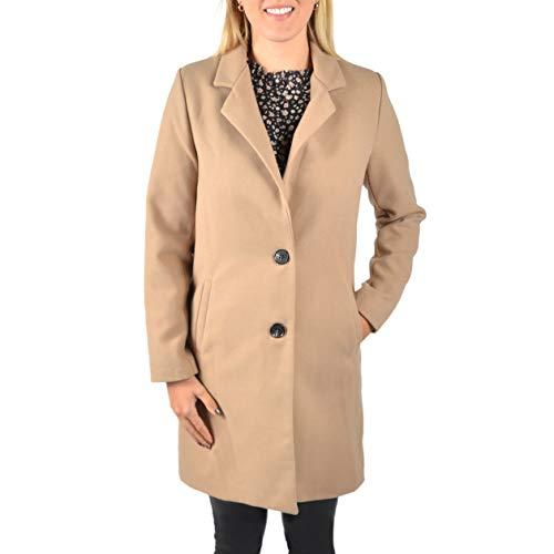 U&F Damen-Mantel knielang mit praktischen Eingrifftaschen & Knopfleiste | eleganter & warmer Mantel für Herbst & Winter | klassischer Übergangsmantel mit Revers-Kragen | Beige XL