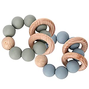 PREMIUM MATERIAL, baby teething rings are made of food grade silicone and quality imported beech wood, 100% BPA free, PVC free, phthalate free, lead free, odorless and chemical-free SAFE FOR YOUR BABY, we test the baby chew toys several times with pr...