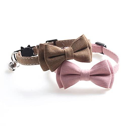Anjing 2 collares para gatos y gatos, diseño de campana, tela rosa, calidad 1 x 28 cm