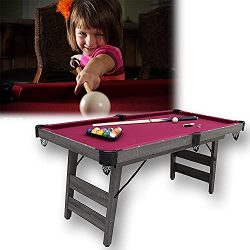 HIMAPETTR Mesa De Billar Plegable, Mini Snooker, con Tacos, Bolas Y Triángulo, Fácil Montaje, Ideal para La Familia, 182x90x81cm