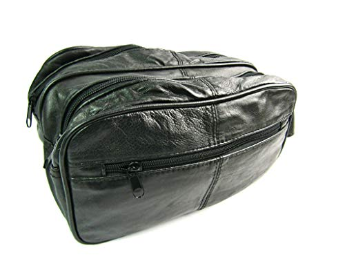 NEW BLACK TRAVEL WASH BAG IN LEATHER DESIGNED BY LORENZ 5214