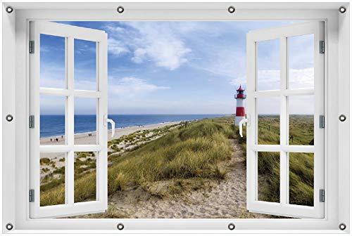 Wallario Garten-Poster Outdoor-Poster 100 x 150 cm mit Fenster-Illusion: Am Strand von Sylt Leuchtturm auf der Düne Panorama in Premiumqualität, für den Außeneinsatz geeignet