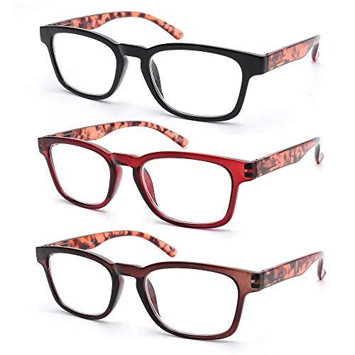 VECIEN 3-Pack Lesebrille, Design mit Federscharniermuster für Zeitlosen Look Mattlackierte Oberfläche Vintage Ultra-Clear-Linse, Rechteckige Vollrandbrille für Männer, Frauen (1.5)