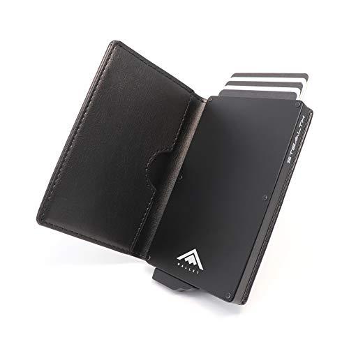 STEALTH WALLET Minimalista Portatarjetas RFID - Carteras de Tarjetas de Crédito Metálicas Delgadas y Livianas con Protección de Bloque NFC (Negro con Cuero Negro)