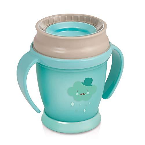 LOVI 360 Grados Vaso de Entrenamiento Antiderrames   9m+   210 ml   Sin BPA   SteriTouch Protección Antibacteriana  Innovador Sistema de Sellado   Fácil de Limpiar   Retro Baby Colección   Menta