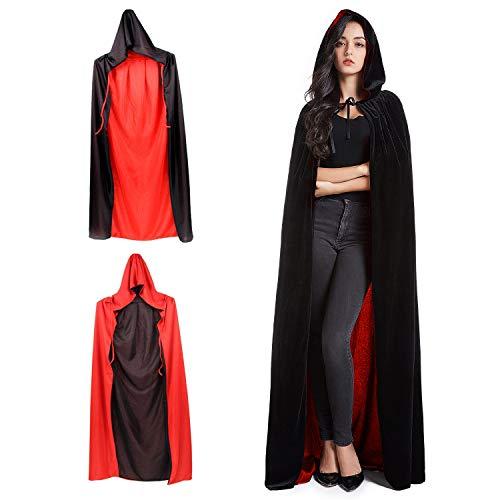 Ainkedin Halloween kostüm, Vampir kostüm, Schwarz Rot umhang 150cm, Unisex Rollenspiel für Erwachsene faschingskostüme gut geeignet für Halloween, Ostern