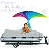 Increase Your Pontoon Boats Lifetime With Waterproof 18-20' Pontoon Boat Cover Trailerable Portable Marine Heavy Duty Mildew, Dirt, UV Resistant Weatherproof Fishing Canvas+European Cream 4 Men+E-Book