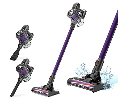 Dibea Aspiradora Escoba Sin Cable, Aspiradora Inalámbrica,25KPa Potente Aspirador de Mano para Suelos Duros y alfombras D18E Pro